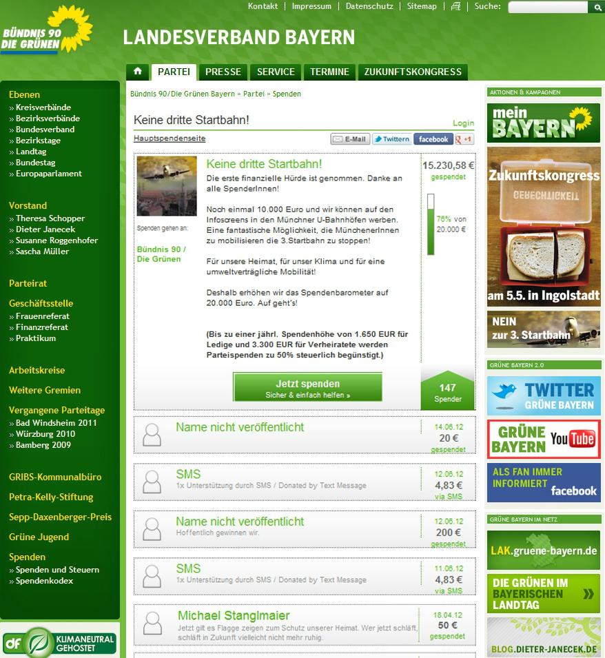 Parteispenden sammeln mit Altruja - Beispiel politisches Fundraising