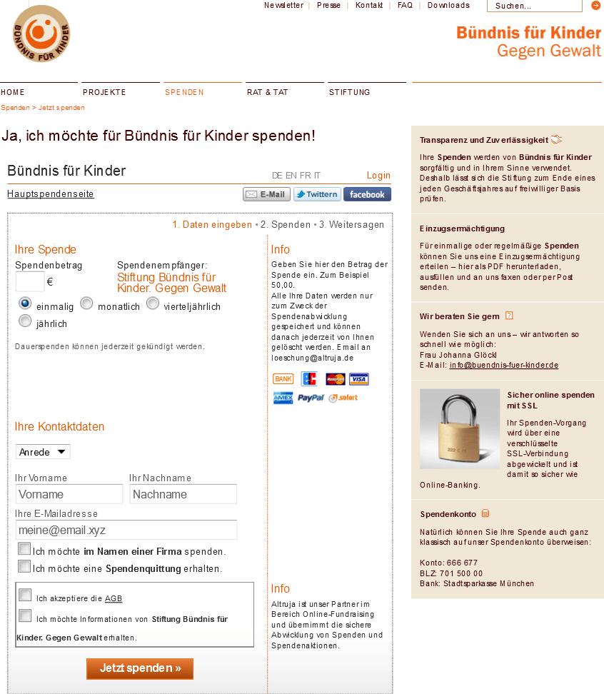 Online Spenden sammeln für NPOs und Vereine von Altruja - Beispiel 1